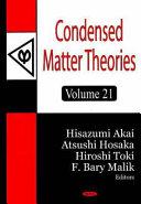 Condensed Matter Theories ebook