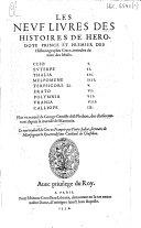 Les neufs premiers livres des histoires d'Hérodote