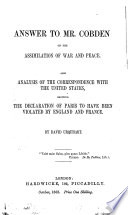 Answer to Mr. Cobden on the Assimilation of War and Peace