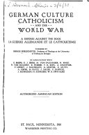 German Culture Catholicism and the World War