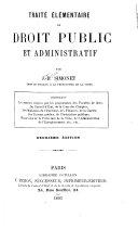 Traité élémentaire de droit public et administratif