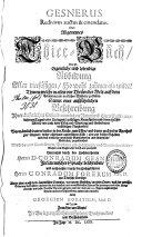 Gesnerus redivivus auctus & emendatus, oder: Allgemeines Thier-Buch