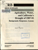 Agriculture  Water  and California s Drought of 1987 92