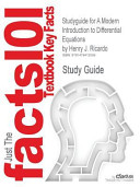 Studyguide for a Modern Introduction to Differential Equations by Henry J. Ricardo, Isbn 9780123747464