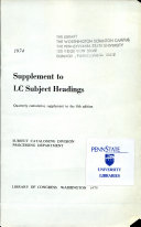 Supplement to LC Subject Headings