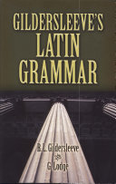 Pdf Gildersleeve's Latin Grammar Telecharger