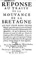 Rèponse au traité de la mouvance de la Bretagne
