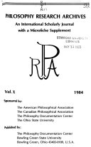 Philosophy Research Archives Book