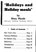 Holidays and Holiday Meals Book