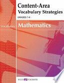 Content area Vocabulary Strategies For Mathematics Book