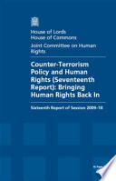 Counter Terrorism Policy And Human Rights Seventeenth Report