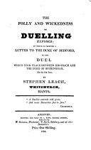 Pdf The folly and wickedness of duelling exposed