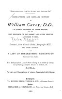 Biographical And Literary Notices Of William Carey