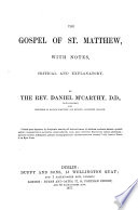 The Gospel of St  Matthew with English Notes