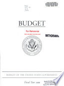 Budget Of The United States Government Fiscal Year 1999