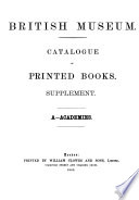Catalogue of the Printed Books in the Library of the British Museum