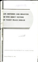 Life Histories and Behavior of Five Insect Vectors of Phony Peach Disease