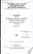 The President s Fiscal Year 2001 Budget Request for the Small Business Administration
