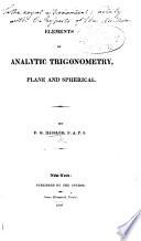 Elements of Analytic Trigonometry  Plane and Spherical