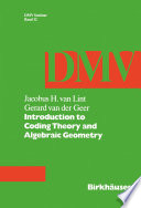 Introduction To Coding Theory And Algebraic Geometry