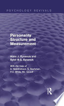 Personality Structure and Measurement  Psychology Revivals