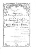 The Catalogue of Donations to the Public Library of Victoria  from 1856 to 1872