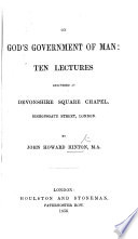 On God s government of man  ten lectures Book