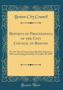 Reports Of Proceedings Of The City Council Of Boston