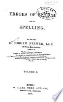 Errors of Speech and of Spelling Book