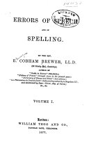 Errors of Speech and of Spelling