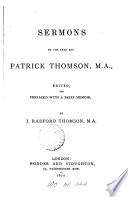 Sermons  ed  with a mem  by J R  Thomson Book
