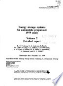 Energy Storage Systems for Automobile Propulsion  Detailed report Book