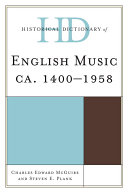 Pdf Historical Dictionary of English Music Telecharger