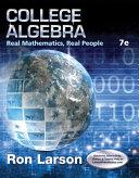 College Algebra  Real Mathematics  Real People