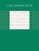 A Dictionary of Selected Synonyms in the Principal Indo-European Languages Pdf/ePub eBook