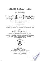 Short Selections for Translating English Into French Book