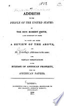 An Address to the People of the United States