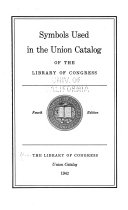 Symbols Used in the National Union Catalog of the Library of Congress