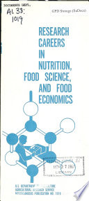 Research Careers in Nutrition, Food Science, and Food Economics