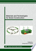 Materials And Technologies For Green Construction Book PDF