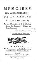 Memoires sur l'administration de la marine et des colonies