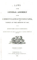 Pdf Laws of the General Assembly of the Commonwealth of Pennsylvania