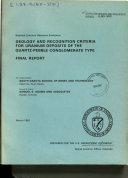 Geology and Recognition Criteria for Uranium Deposits of the Quartz-pebble Conglomerate Type