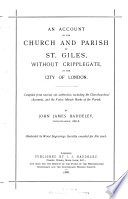 An Account of the Church and Parish of St  Giles