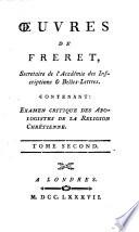 Œuvres de Freret, secrétaire de l'Académie des Inscriptions & Belles-Lettres