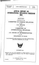 Annual Report on International Religious Freedom 2004  November 2004  108 2 Joint Committee Print  S  Prt  108 59