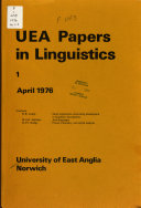 UEA Papers in Linguistics