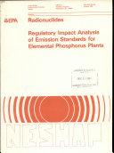 Regulatory Impact Analysis of Emission Standards for Elemental Phosphorus Plants