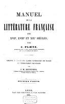 Manuel de la littérature française des XVIIe, XVIIIe et XIXe siècles