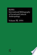 Bibliographie Internationale D Anthropologie Sociale Et Culturelle 1994